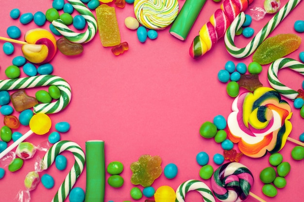 Quadro de doces variados brilhantes coloridos Foto Premium