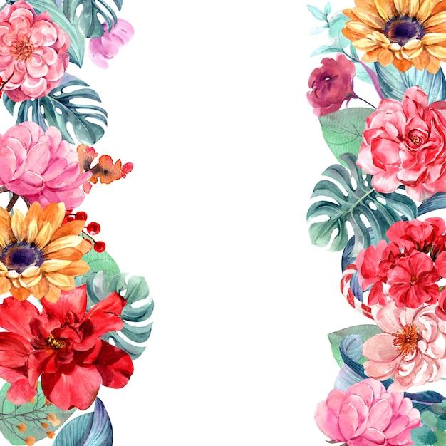 Quadro de flores com aquarela Foto Premium