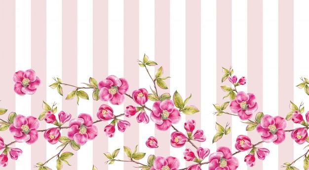 Quadro de flores de sakura rosa. Foto Premium