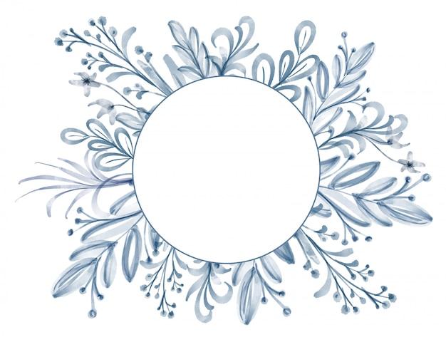 Quadro de flores e folhas em aquarela Foto Premium