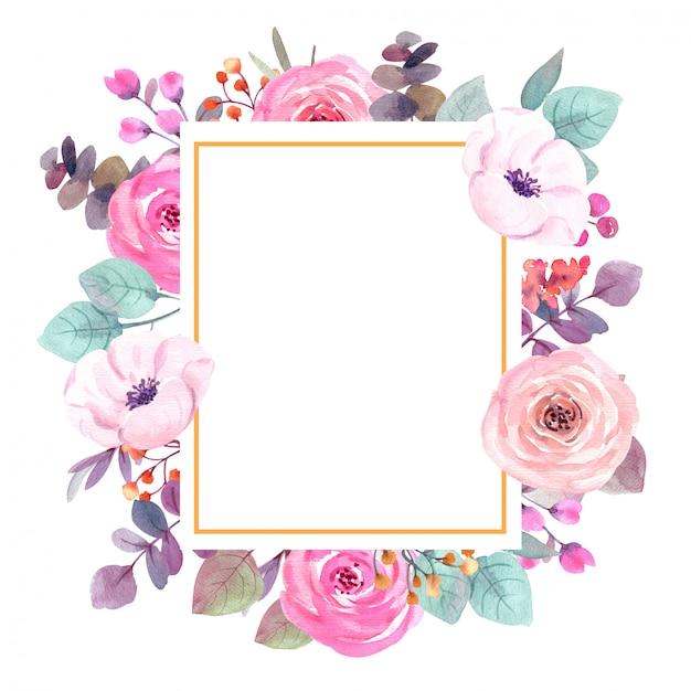Quadro de flores em aquarela cartão Foto Premium