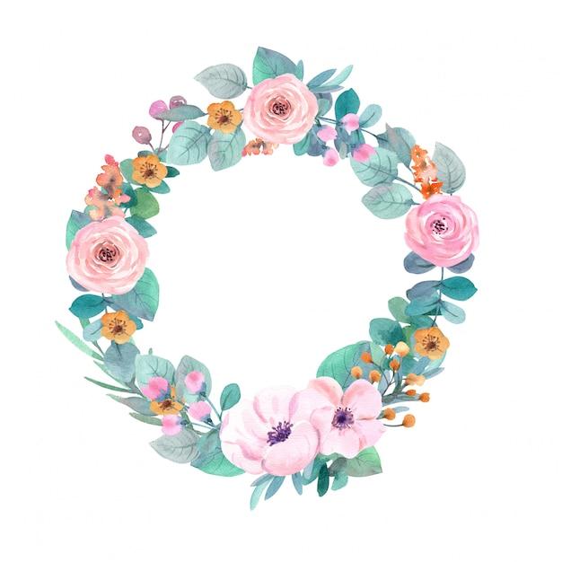 Quadro de flores em aquarela Foto Premium