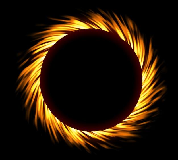 Quadro de fogo redondo. eclipse de fogo ou redemoinho de fogo Foto Premium
