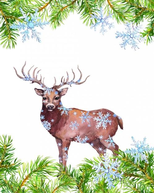 Quadro de galhos de pinheiro, animal de veado em flocos de neve. cartão de natal. aguarela Foto Premium