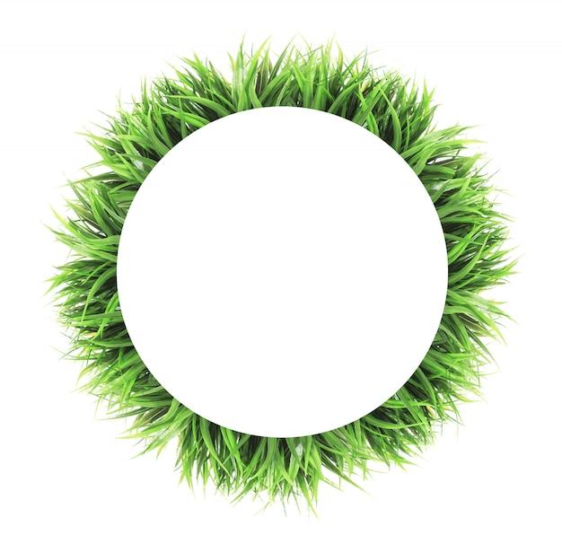 Quadro de grama de círculo isolado no branco Foto Premium