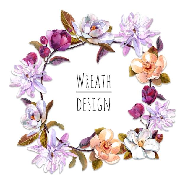 Quadro de grinalda de lindas flores de magnólia Foto Premium