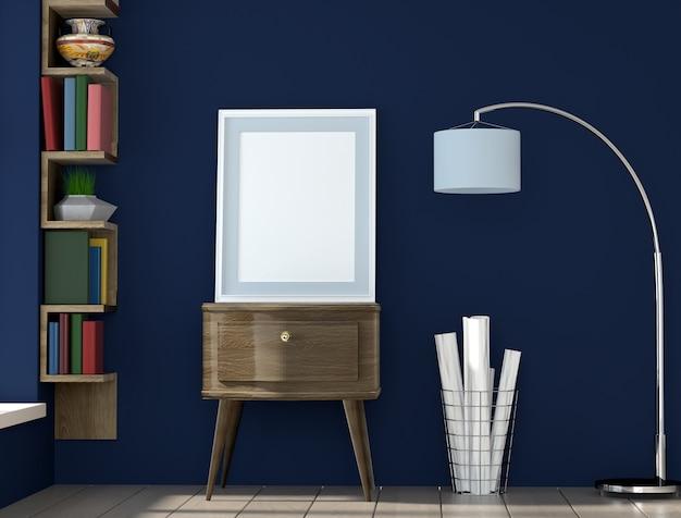 Quadro de layout de cartaz com parede azul e livros, fundo interior, visualização 3d Foto Premium