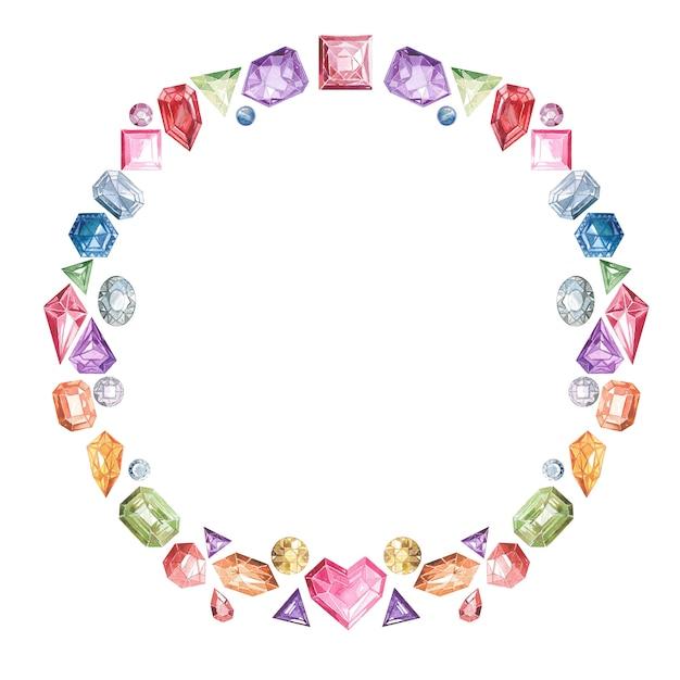 Quadro de pedras preciosas e cristais multi-coloridas Foto Premium