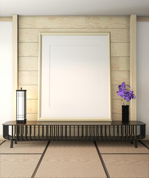 Quadro de pôster no interior do quarto ryokan. renderização em 3d Foto Premium