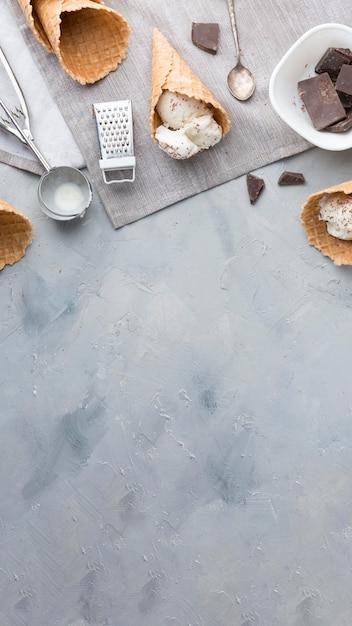 Quadro de sorvete plana leigos Foto gratuita