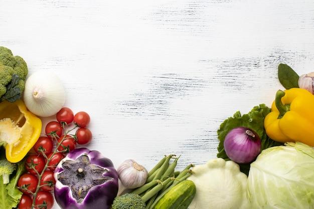 Quadro de verduras deliciosas acima Foto Premium