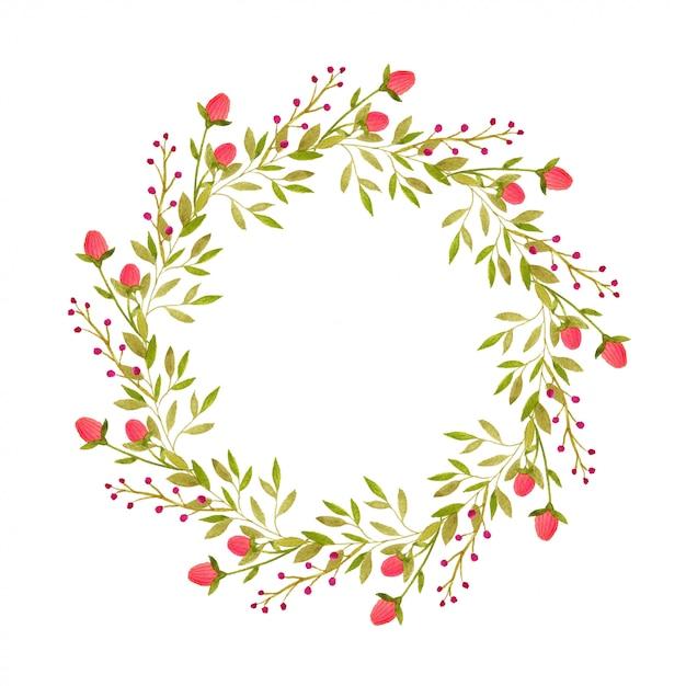 Quadro decorativo de coroa de flores em aquarela para cartão Foto Premium