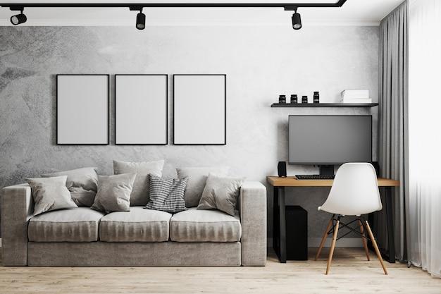 Quadro em branco em um interior moderno com parede de concreto cinza, sofá cinza, local de trabalho em casa com pc e cadeira branca, renderização em 3d Foto Premium