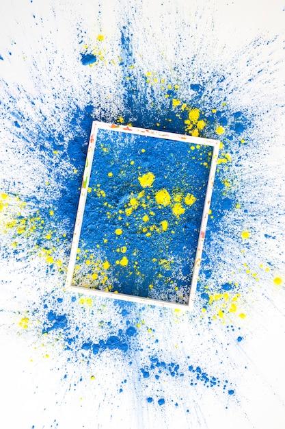 Quadro em cores secas brilhantes azuis e amarelas Foto gratuita
