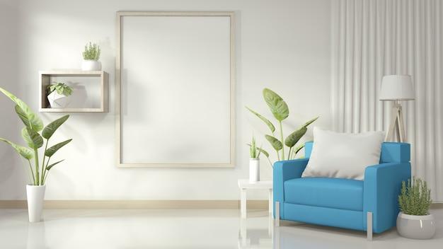Quadro na sala de estar branca com poltrona azul e plantas de decoração em piso brilhante branco, renderização em 3d Foto Premium
