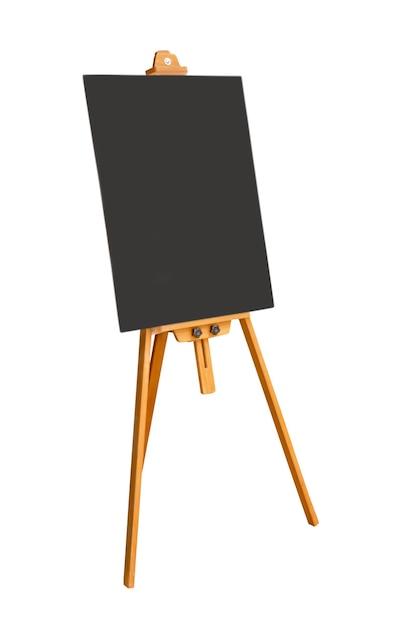Quadro-negro vazio e placa de sinal isolada no branco. arquivo contém com traçado de recorte tão fácil de trabalhar. Foto Premium