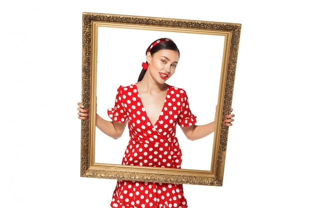 Quadro retrô com imagem retrô de sexy pin up girl Foto Premium