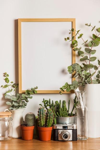 Quadro suspenso e muitas plantas Foto gratuita