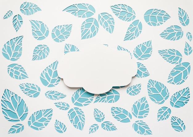 Quadro vintage com folhas cortadas de fundo de papel Foto Premium