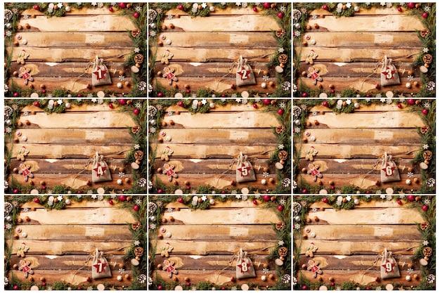 Quadros com números no calendário do advento de bolsas Foto gratuita