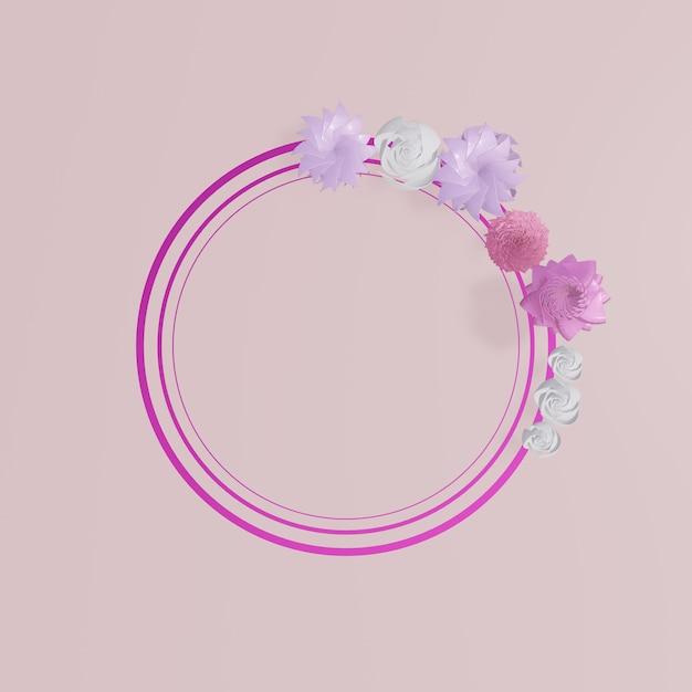 Quadros florais. guirlanda floral rosa Foto Premium