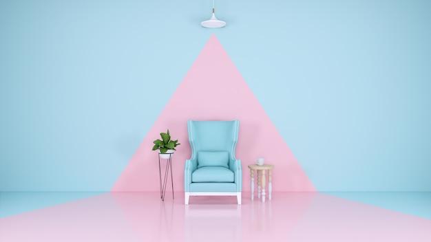 Quarto azul e rosa Foto Premium