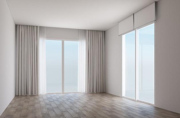 Quarto branco com piso de madeira e portas de correr com cortinas Foto Premium