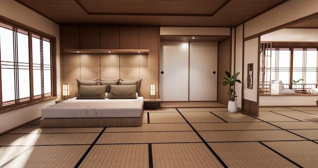 Quarto com design japonês no interior do quarto tropical e piso de tatame Foto Premium