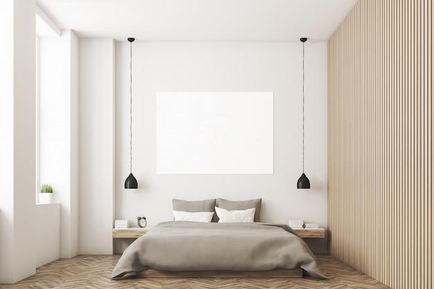 Quarto com foto e parede de madeira Foto Premium
