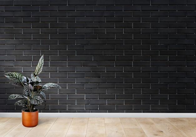 Quarto, com, um, parede preta tijolo Foto gratuita