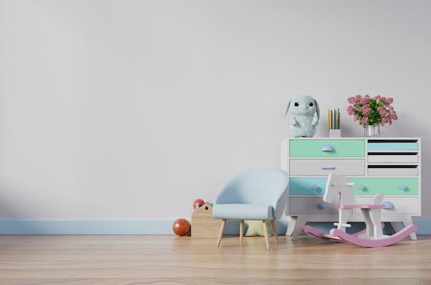 Quarto das crianças com poltrona de cavalete e armário. Foto Premium