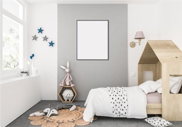 Quarto de crianças com moldura vertical vazia, fundo de obras de arte, interior Foto Premium