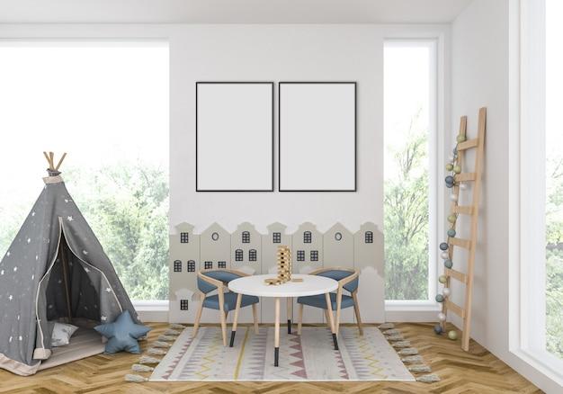 Quarto de crianças com quadros duplos vazios Foto Premium