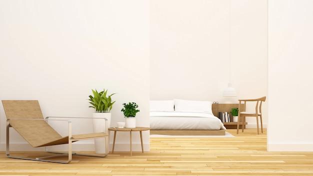Quarto e sala de estar limpa renderização de design-3d Foto Premium