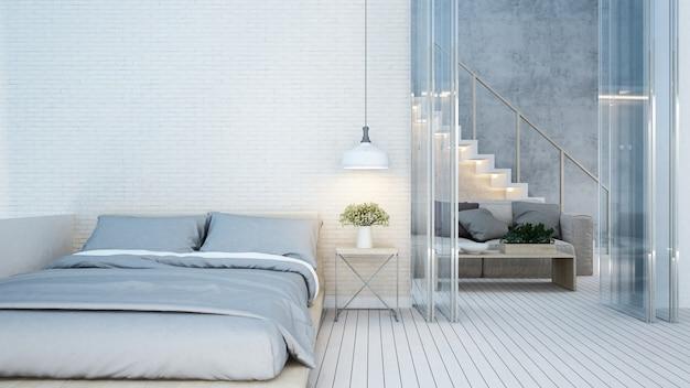 Quarto e sala de estar tom branco em casa ou apartamento Foto Premium