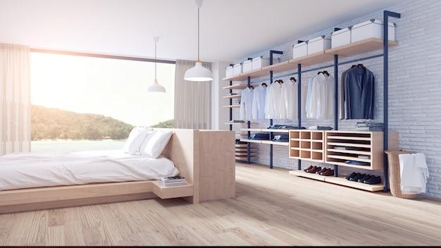 Quarto e vestiário estilo loft design de interiores Foto Premium