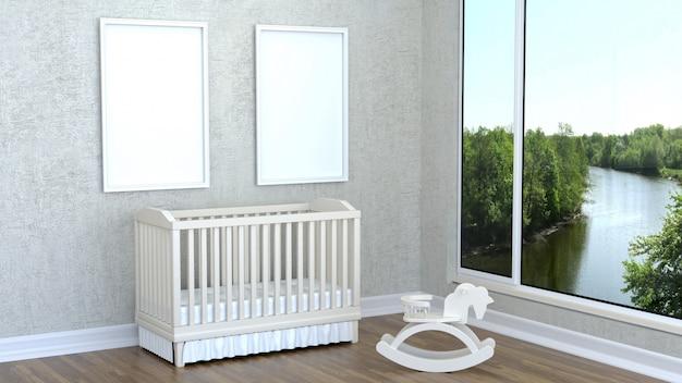 Quarto infantil com um berço e uma moldura vazia Foto Premium