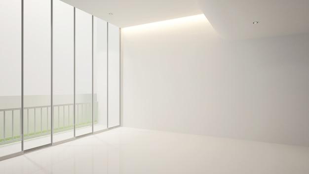 Quarto vazio branco e varanda para obras de arte, terior 3d Foto Premium