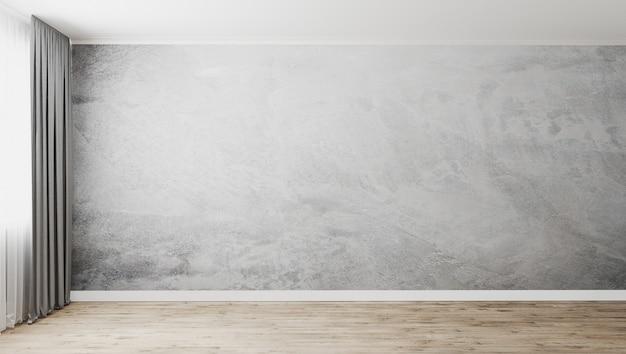 Quarto vazio com parede de gesso decorativo cinza e piso de madeira, janela com cortinas cinza, parede vazia, renderização em 3d Foto Premium