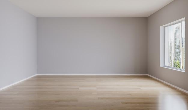 Quarto vazio, com paredes claras e piso de madeira. quarto vazio para maquete. renderização em 3d Foto Premium
