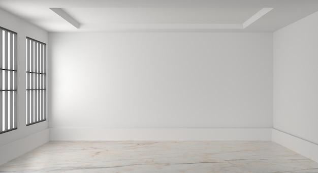 Quarto vazio interior branco parede em branco. 3d rendem Foto Premium