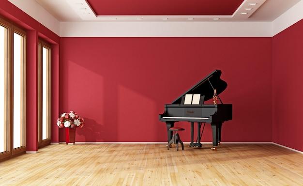 Quarto vermelho com piano de cauda Foto Premium