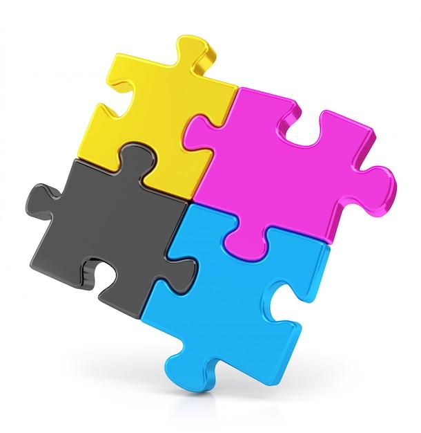 Quatro puzzles de cmyk Foto Premium