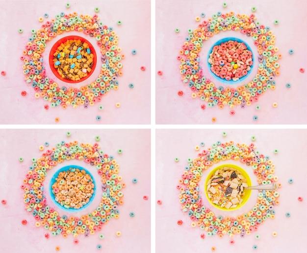 Quatro tigelas de cereais em molduras redondas de flocos de milho Foto gratuita