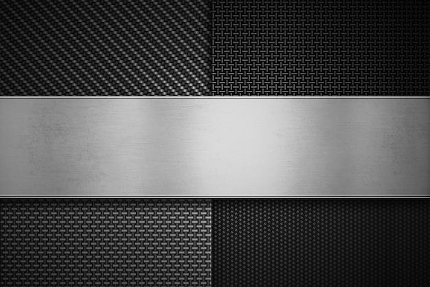 Quatro tipos de fibra de carbono moderna com placa de metal polida Foto Premium