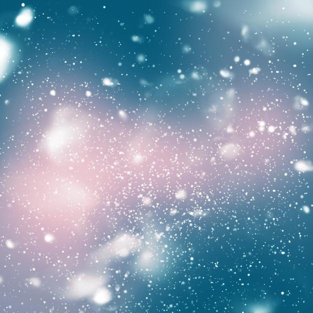 Queda de neve do céu azul, desenho digital Foto Premium