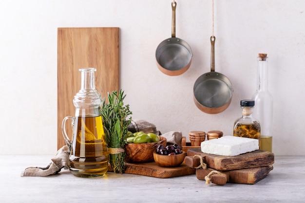 Queijo de feta de cabra de aperitivo grego tradicional Foto Premium