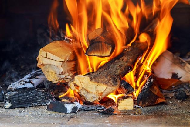 Queima e brilhante pedaços de madeira na lareira Foto Premium