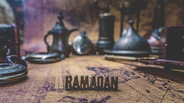 Ramadan with vintage collection on mapa do velho mundo Foto Premium