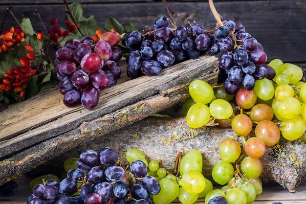 Raminho de uvas em fundo de madeira Foto gratuita